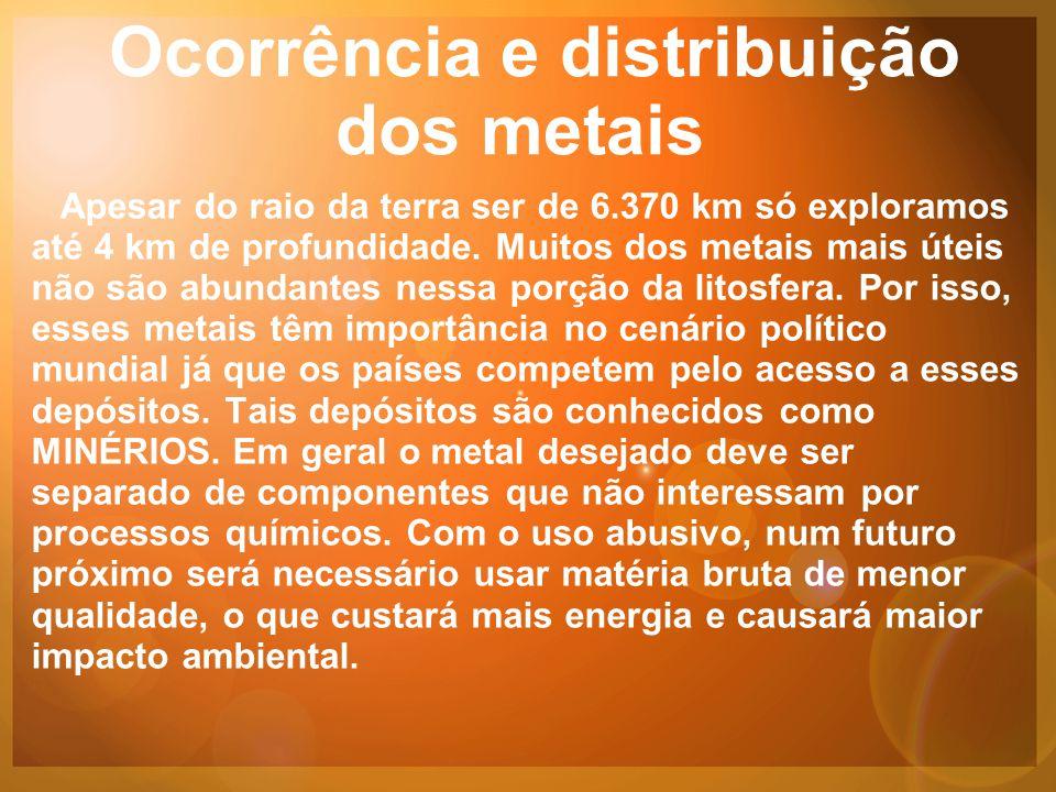 Ocorrência e distribuição dos metais Apesar do raio da terra ser de 6.370 km só exploramos até 4 km de profundidade.