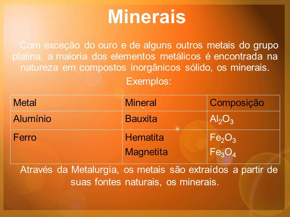 Minerais Com exceção do ouro e de alguns outros metais do grupo platina, a maioria dos elementos metálicos é encontrada na natureza em compostos inorgânicos sólido, os minerais.