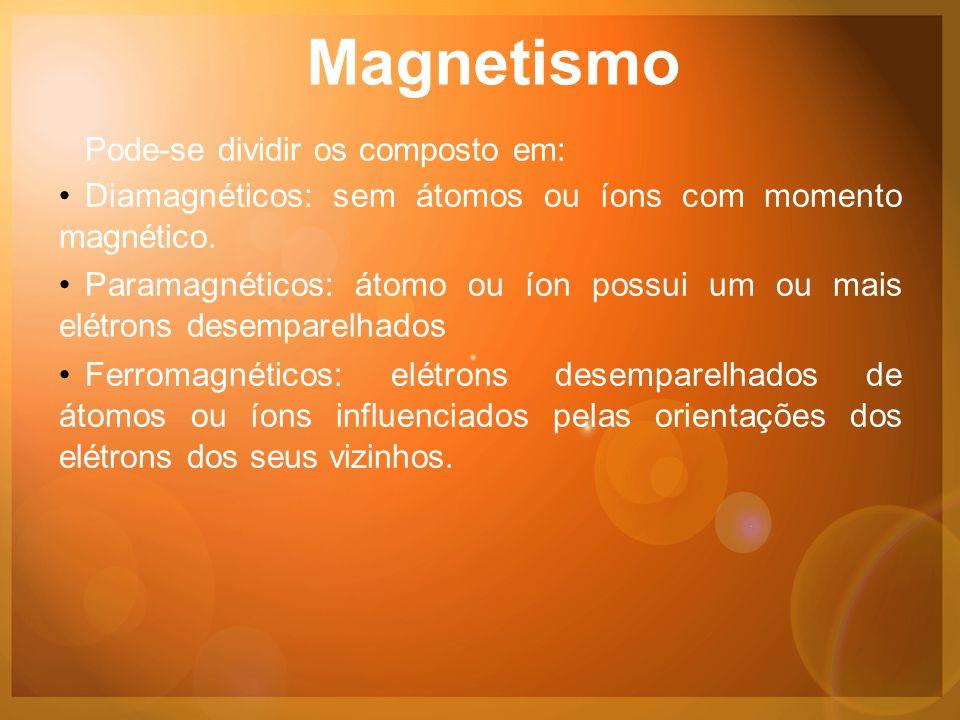 Magnetismo Pode-se dividir os composto em: •Diamagnéticos: sem átomos ou íons com momento magnético.