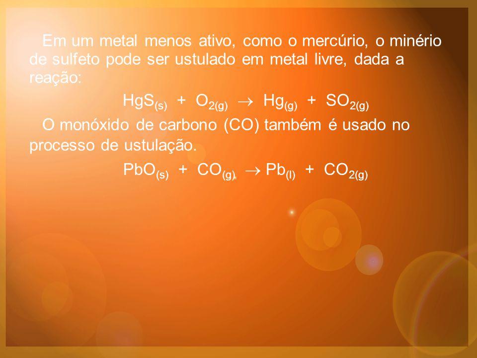 Em um metal menos ativo, como o mercúrio, o minério de sulfeto pode ser ustulado em metal livre, dada a reação: HgS (s) + O 2(g)  Hg (g) + SO 2(g) O monóxido de carbono (CO) também é usado no processo de ustulação.