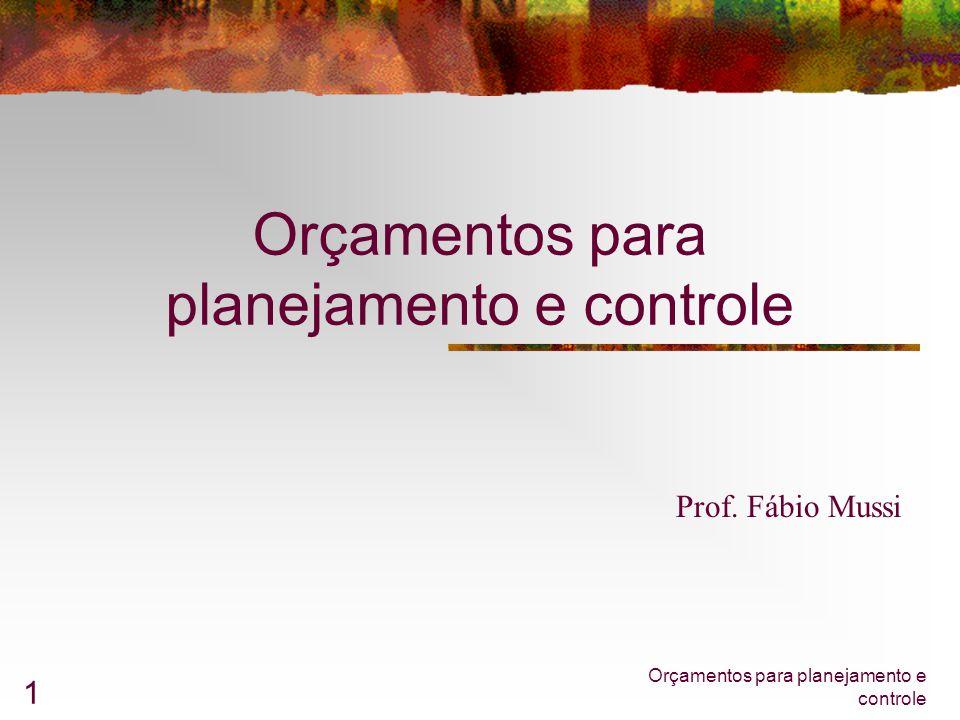 Orçamentos para planejamento e controle 1 Prof. Fábio Mussi