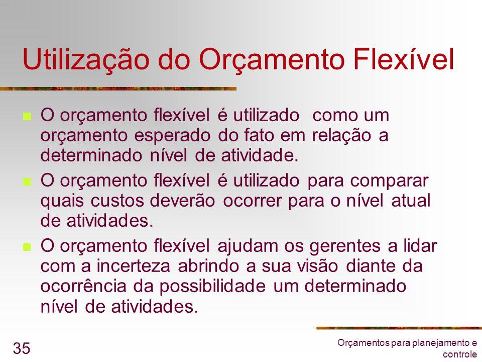 Orçamentos para planejamento e controle 35 Utilização do Orçamento Flexível  O orçamento flexível é utilizado como um orçamento esperado do fato em r