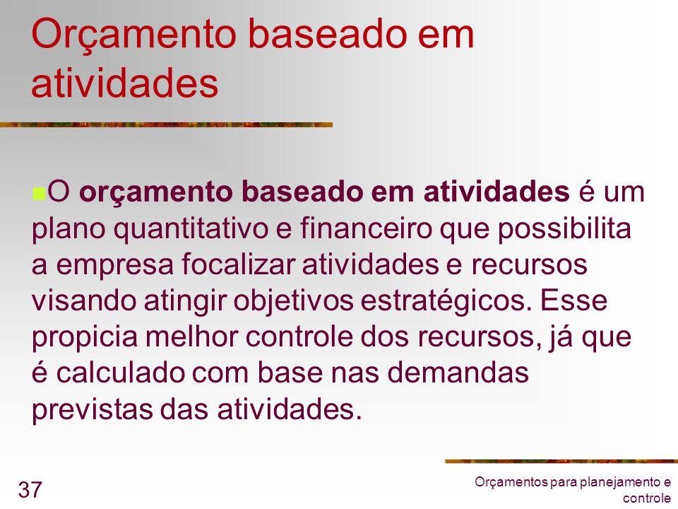 Orçamentos para planejamento e controle 37 Orçamento baseado em atividades  O orçamento baseado em atividades é um plano quantitativo e financeiro qu