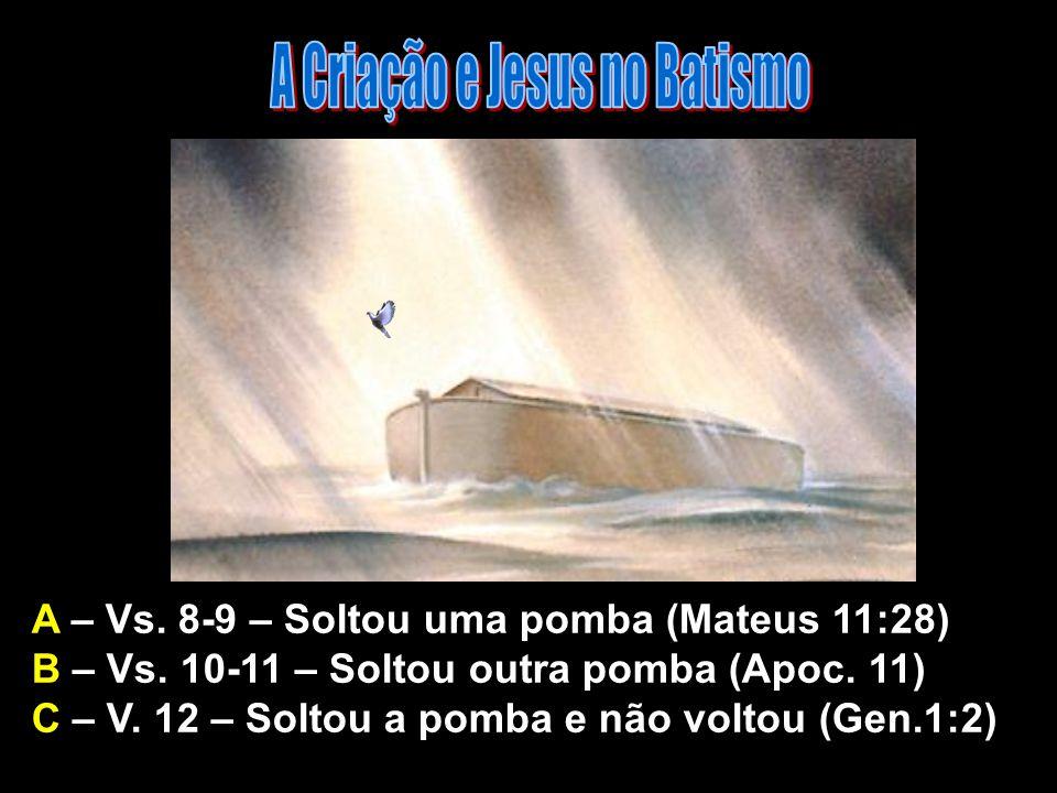 A – Vs. 8-9 – Soltou uma pomba (Mateus 11:28) B – Vs. 10-11 – Soltou outra pomba (Apoc. 11) C – V. 12 – Soltou a pomba e não voltou (Gen.1:2) A Criaçã