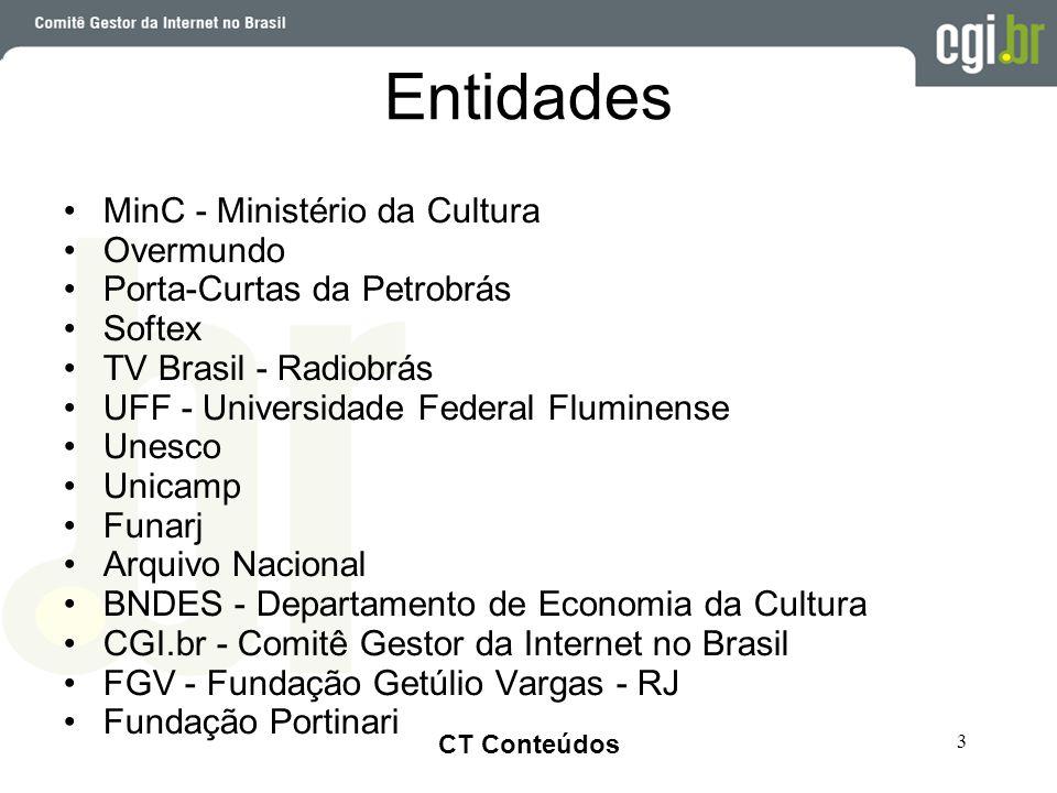 Clique para editar o estilo do título mestre •Clique para editar os estilos do texto mestre •Segundo nível •Terceiro nível •Quarto nível •Quinto nível CT Conteúdos 3 Entidades •MinC - Ministério da Cultura •Overmundo •Porta-Curtas da Petrobrás •Softex •TV Brasil - Radiobrás •UFF - Universidade Federal Fluminense •Unesco •Unicamp •Funarj •Arquivo Nacional •BNDES - Departamento de Economia da Cultura •CGI.br - Comitê Gestor da Internet no Brasil •FGV - Fundação Getúlio Vargas - RJ •Fundação Portinari