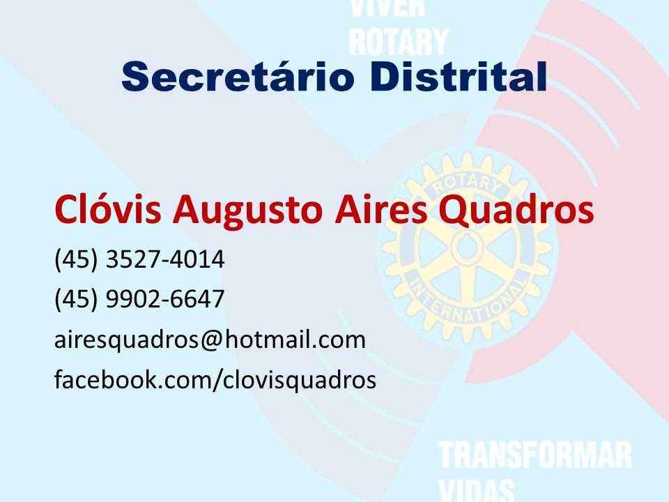 Secretário Distrital Clóvis Augusto Aires Quadros (45) 3527-4014 (45) 9902-6647 airesquadros@hotmail.com facebook.com/clovisquadros