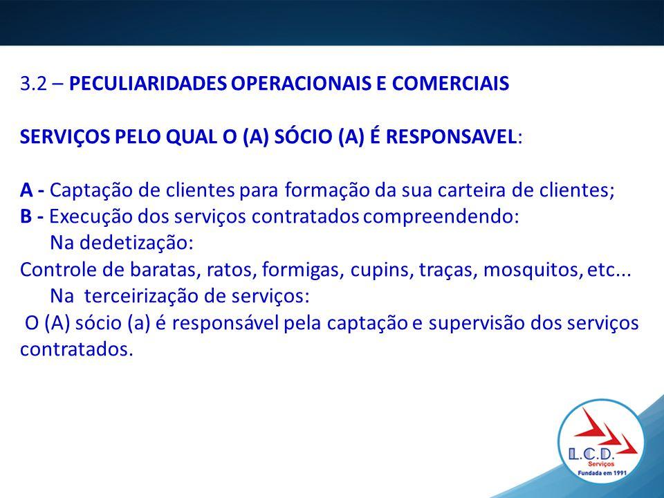 3.2 – PECULIARIDADES OPERACIONAIS E COMERCIAIS SERVIÇOS PELO QUAL O (A) SÓCIO (A) É RESPONSAVEL: A - Captação de clientes para formação da sua carteir