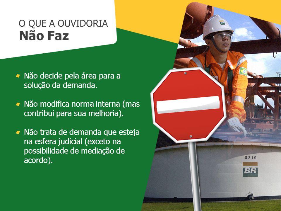 O QUE A OUVIDORIA Não Faz Não decide pela área para a solução da demanda.
