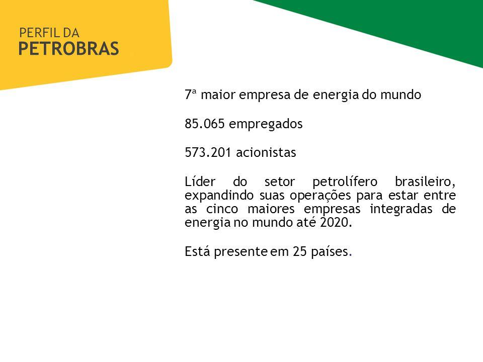 PERFIL DA PETROBRAS Gerência de Transparência e Integridade 7ª maior empresa de energia do mundo 85.065 empregados 573.201 acionistas Líder do setor petrolífero brasileiro, expandindo suas operações para estar entre as cinco maiores empresas integradas de energia no mundo até 2020.