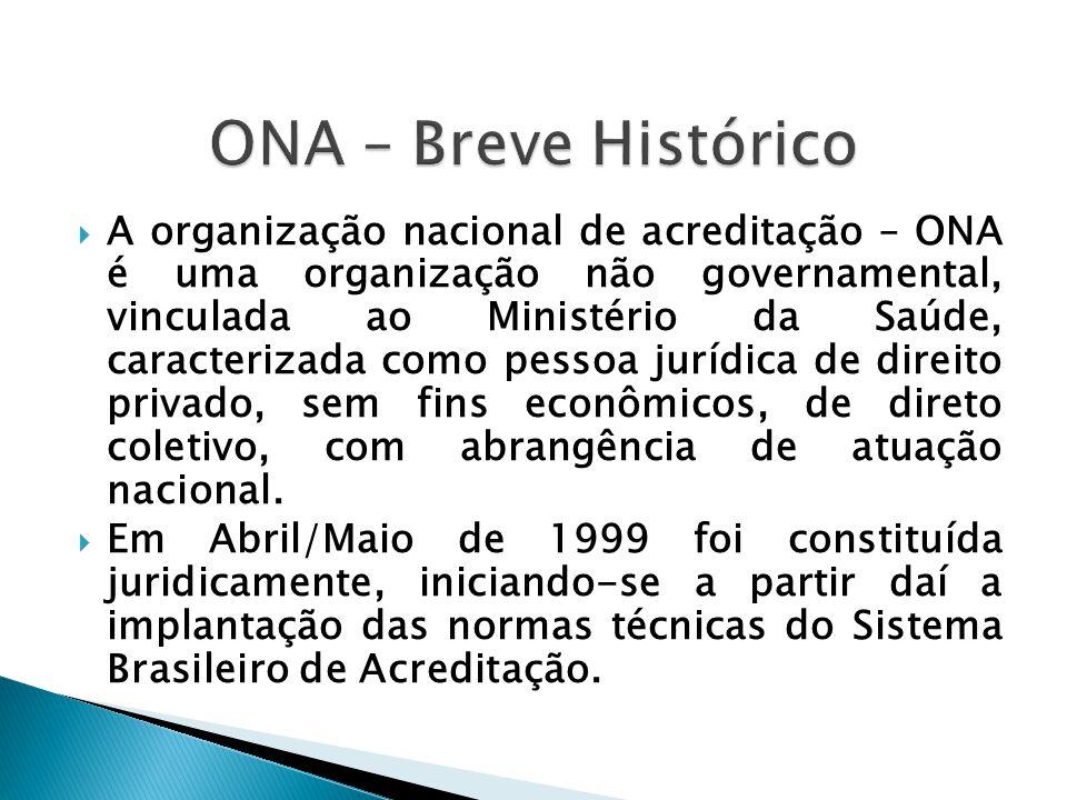  A organização nacional de acreditação – ONA é uma organização não governamental, vinculada ao Ministério da Saúde, caracterizada como pessoa jurídica de direito privado, sem fins econômicos, de direto coletivo, com abrangência de atuação nacional.