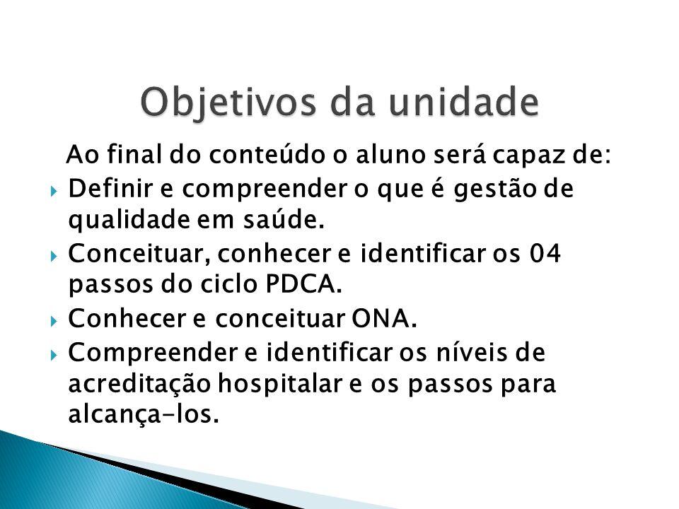 Ao final do conteúdo o aluno será capaz de:  Definir e compreender o que é gestão de qualidade em saúde.  Conceituar, conhecer e identificar os 04 p