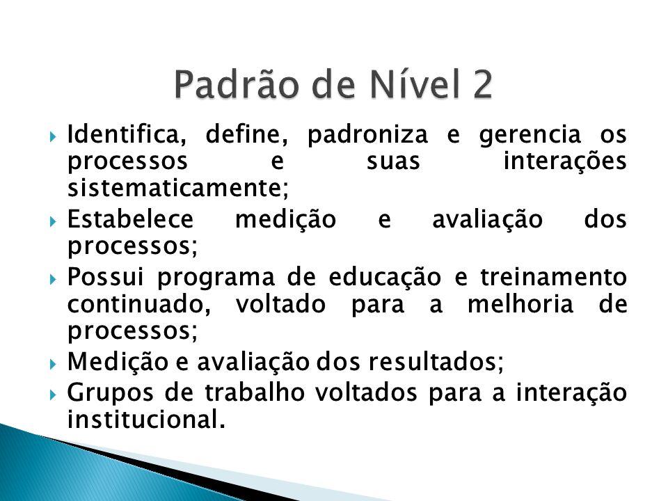  Identifica, define, padroniza e gerencia os processos e suas interações sistematicamente;  Estabelece medição e avaliação dos processos;  Possui p