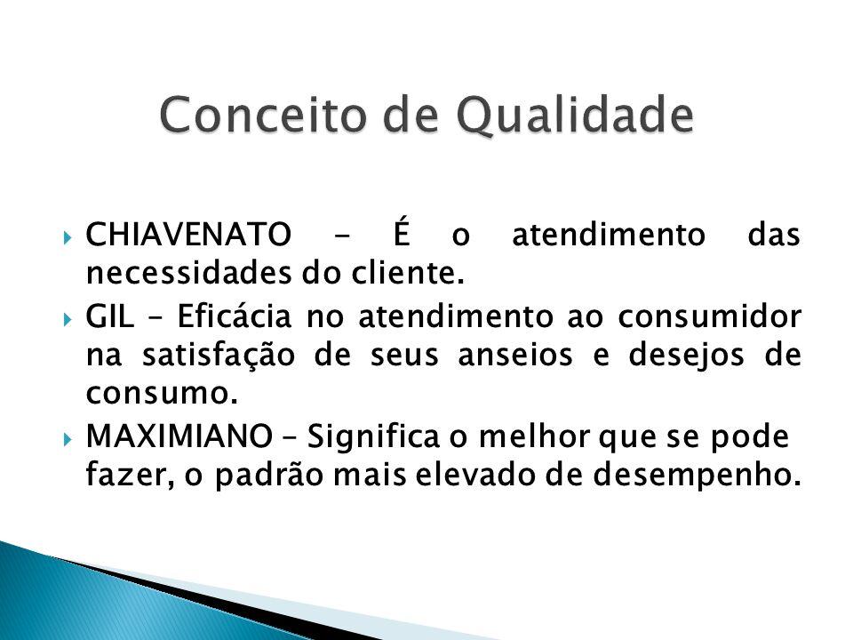  CHIAVENATO - É o atendimento das necessidades do cliente.  GIL – Eficácia no atendimento ao consumidor na satisfação de seus anseios e desejos de c