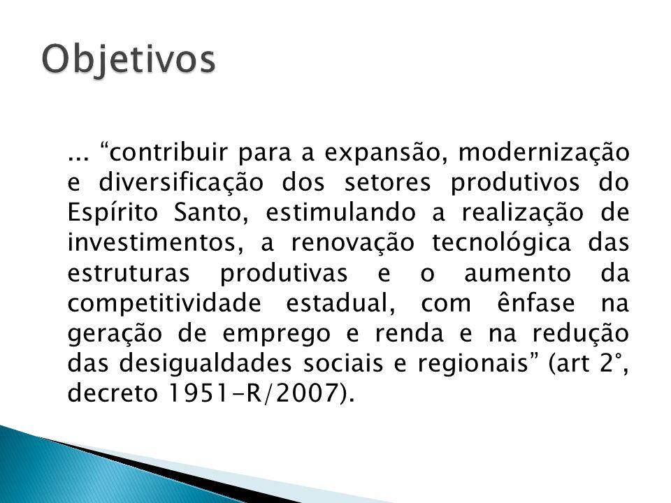 """... """"contribuir para a expansão, modernização e diversificação dos setores produtivos do Espírito Santo, estimulando a realização de investimentos, a"""