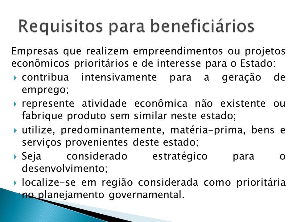 Empresas que realizem empreendimentos ou projetos econômicos prioritários e de interesse para o Estado:  contribua intensivamente para a geração de e