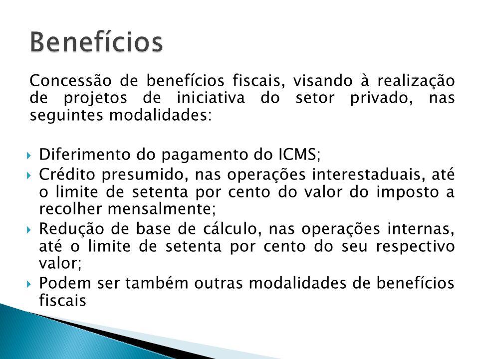 Concessão de benefícios fiscais, visando à realização de projetos de iniciativa do setor privado, nas seguintes modalidades:  Diferimento do pagament