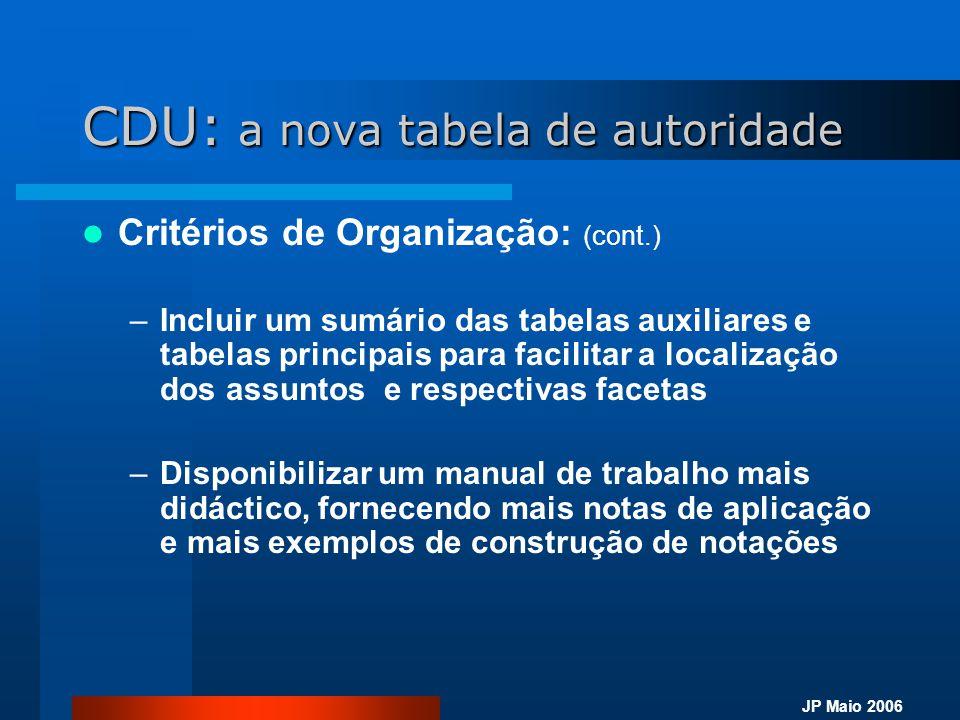 JP Maio 2006 CDU: a nova tabela de autoridade  Critérios de Organização: (cont.) –Incluir um sumário das tabelas auxiliares e tabelas principais para