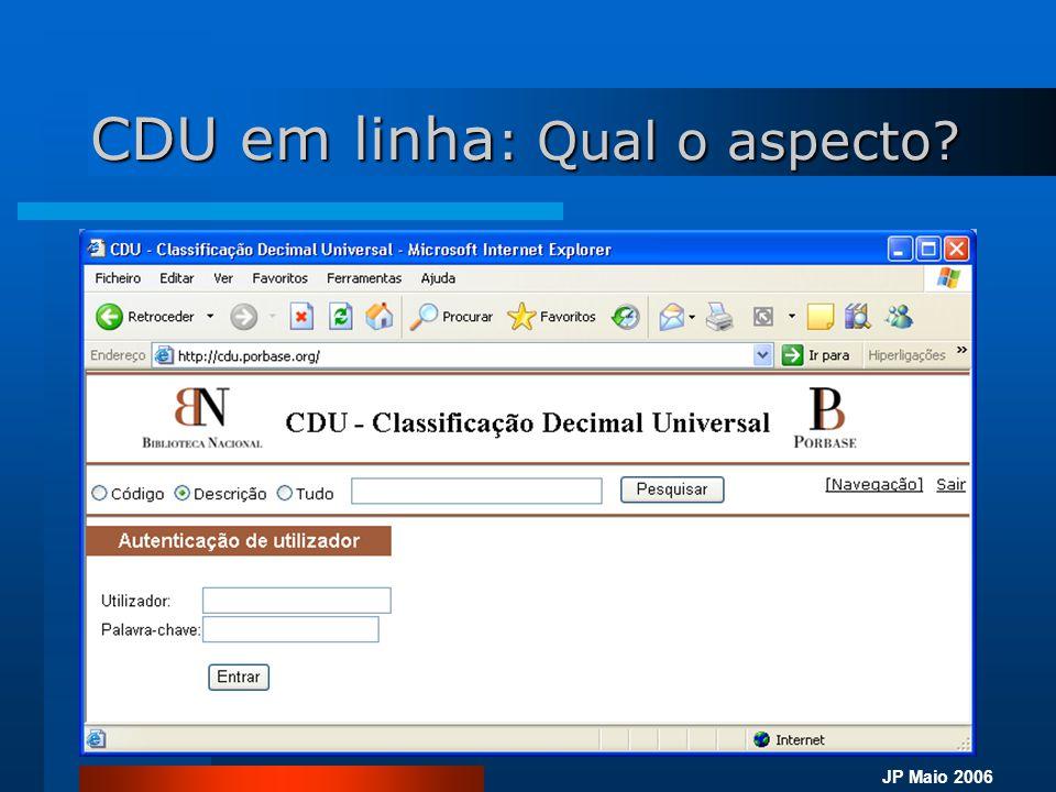 JP Maio 2006 CDU em linha  Características técnicas para utilização: –Acesso à Internet –Utilização do browser Internet Explorer (versão 5.5 ou superior) CDU em Linha (Teste site)