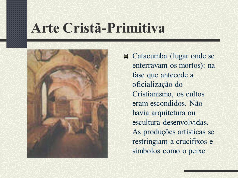 Arte Cristã-Primitiva Catacumba (lugar onde se enterravam os mortos): na fase que antecede a oficialização do Cristianismo, os cultos eram escondidos.