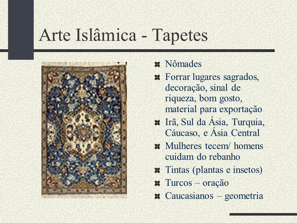 Arte Islâmica - Tapetes Nômades Forrar lugares sagrados, decoração, sinal de riqueza, bom gosto, material para exportação Irã, Sul da Ásia, Turquia, C