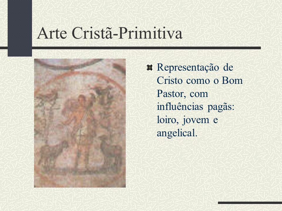 Arte Cristã-Primitiva Representação de Cristo como o Bom Pastor, com influências pagãs: loiro, jovem e angelical.