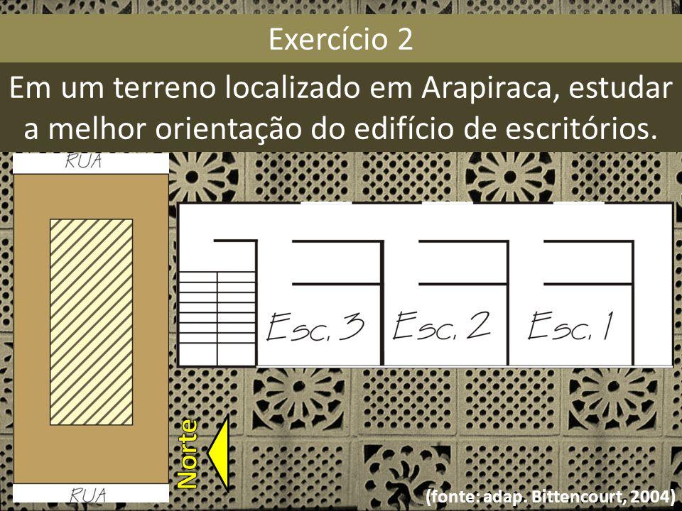Exercício 2 Em um terreno localizado em Arapiraca, estudar a melhor orientação do edifício de escritórios. (fonte: adap. Bittencourt, 2004)