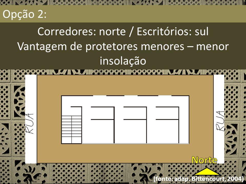 Opção 2: Corredores: norte / Escritórios: sul Vantagem de protetores menores – menor insolação (fonte: adap. Bittencourt, 2004)