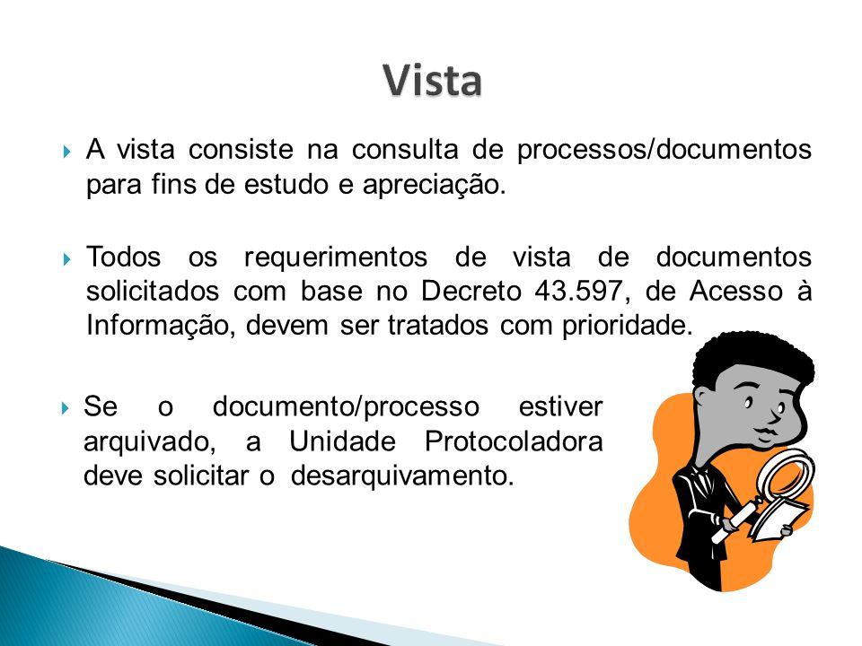  A vista consiste na consulta de processos/documentos para fins de estudo e apreciação.  Todos os requerimentos de vista de documentos solicitados c