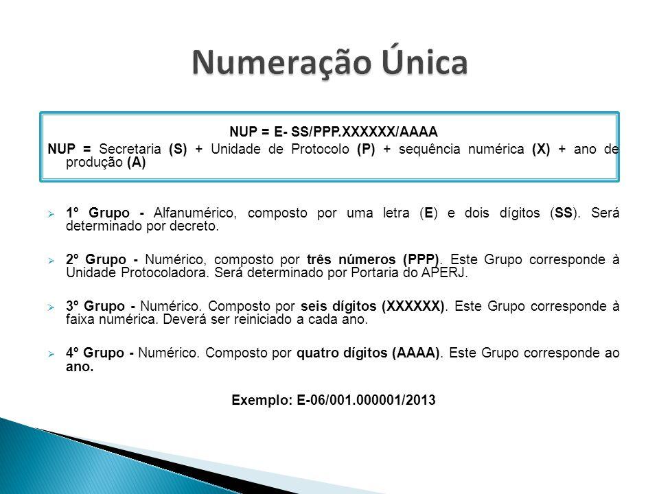 NUP = E- SS/PPP.XXXXXX/AAAA NUP = Secretaria (S) + Unidade de Protocolo (P) + sequência numérica (X) + ano de produção (A)  1º Grupo - Alfanumérico,