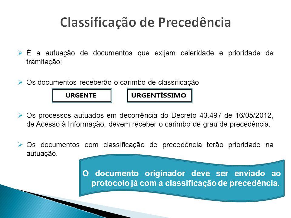  É a autuação de documentos que exijam celeridade e prioridade de tramitação;  Os documentos receberão o carimbo de classificação  Os processos aut
