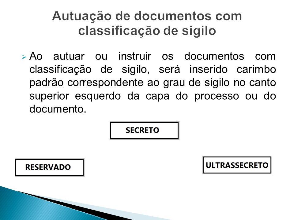  Ao autuar ou instruir os documentos com classificação de sigilo, será inserido carimbo padrão correspondente ao grau de sigilo no canto superior esq