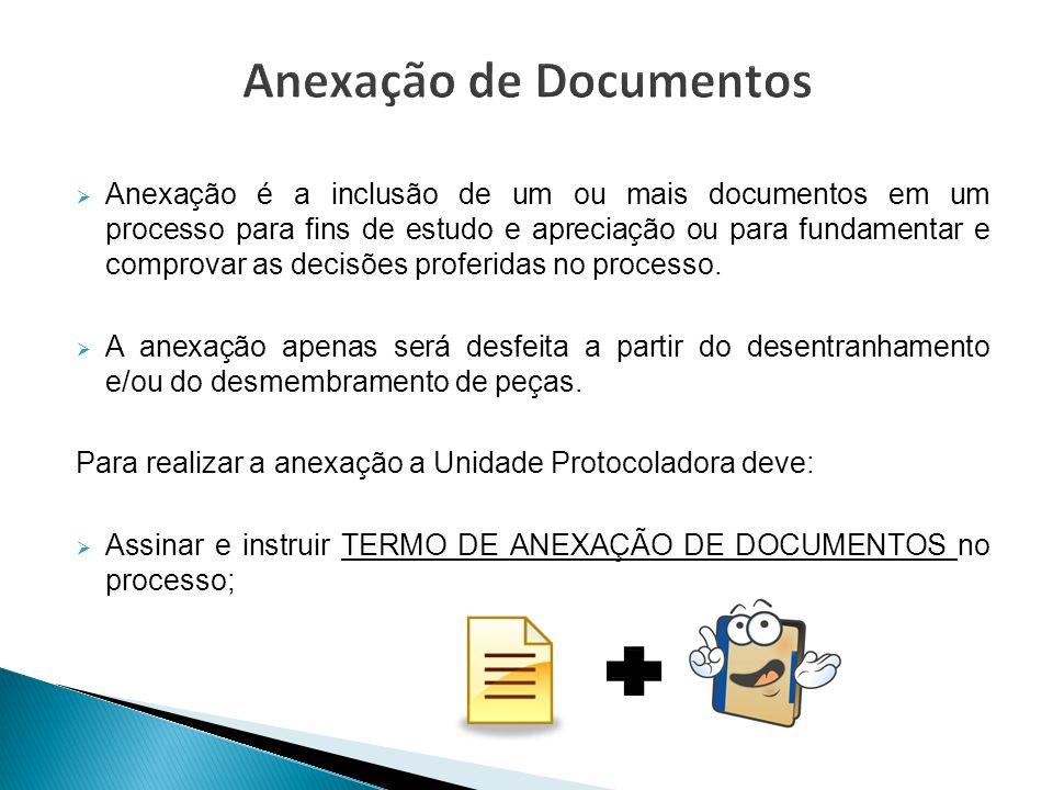  Anexação é a inclusão de um ou mais documentos em um processo para fins de estudo e apreciação ou para fundamentar e comprovar as decisões proferida