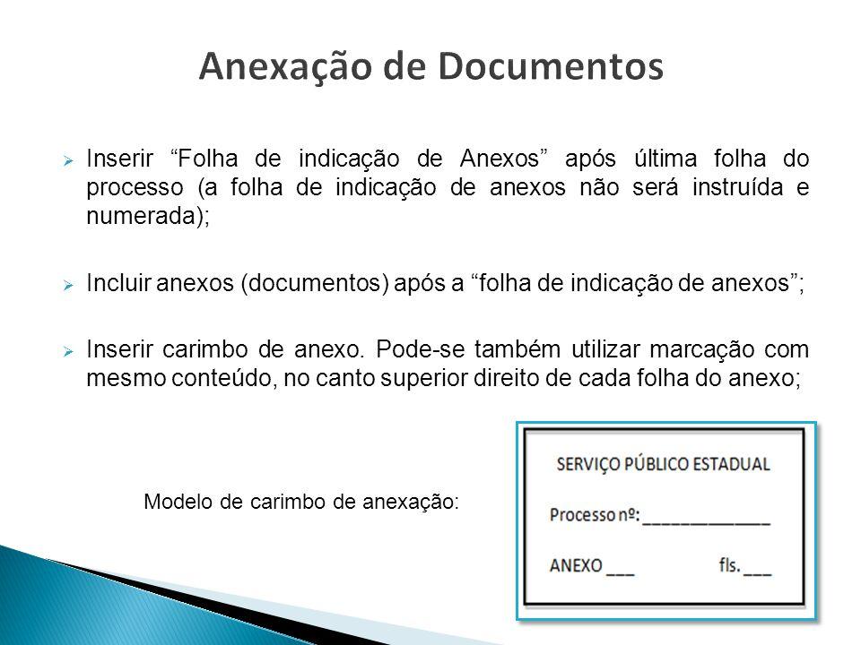""" Inserir """"Folha de indicação de Anexos"""" após última folha do processo (a folha de indicação de anexos não será instruída e numerada);  Incluir anexo"""