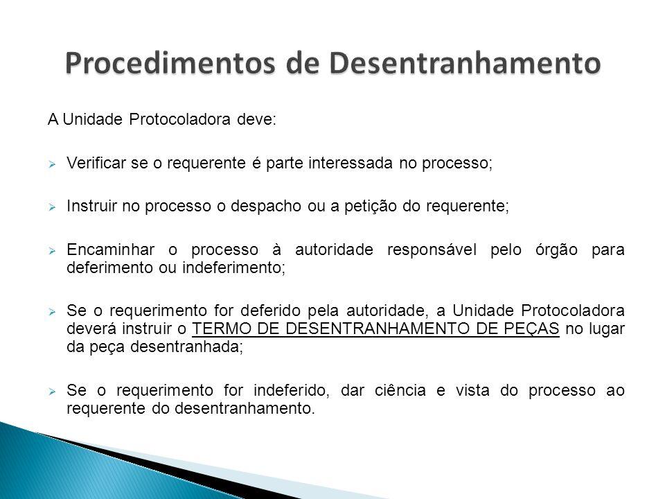 A Unidade Protocoladora deve:  Verificar se o requerente é parte interessada no processo;  Instruir no processo o despacho ou a petição do requerent