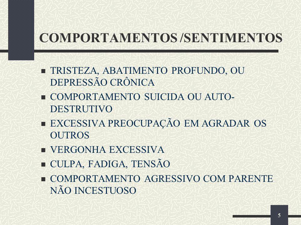 5 COMPORTAMENTOS /SENTIMENTOS  TRISTEZA, ABATIMENTO PROFUNDO, OU DEPRESSÃO CRÔNICA  COMPORTAMENTO SUICIDA OU AUTO- DESTRUTIVO  EXCESSIVA PREOCUPAÇÃ