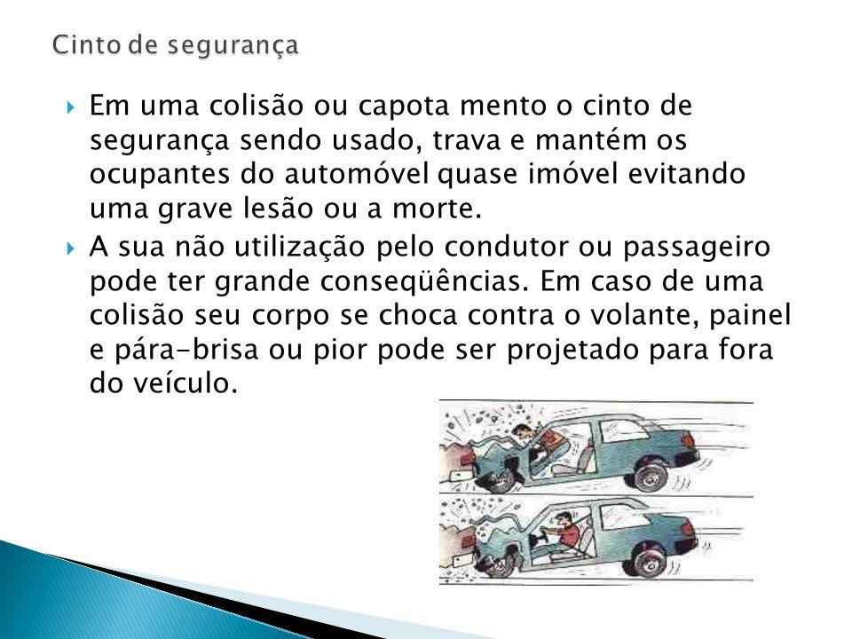  Em uma colisão ou capota mento o cinto de segurança sendo usado, trava e mantém os ocupantes do automóvel quase imóvel evitando uma grave lesão ou a