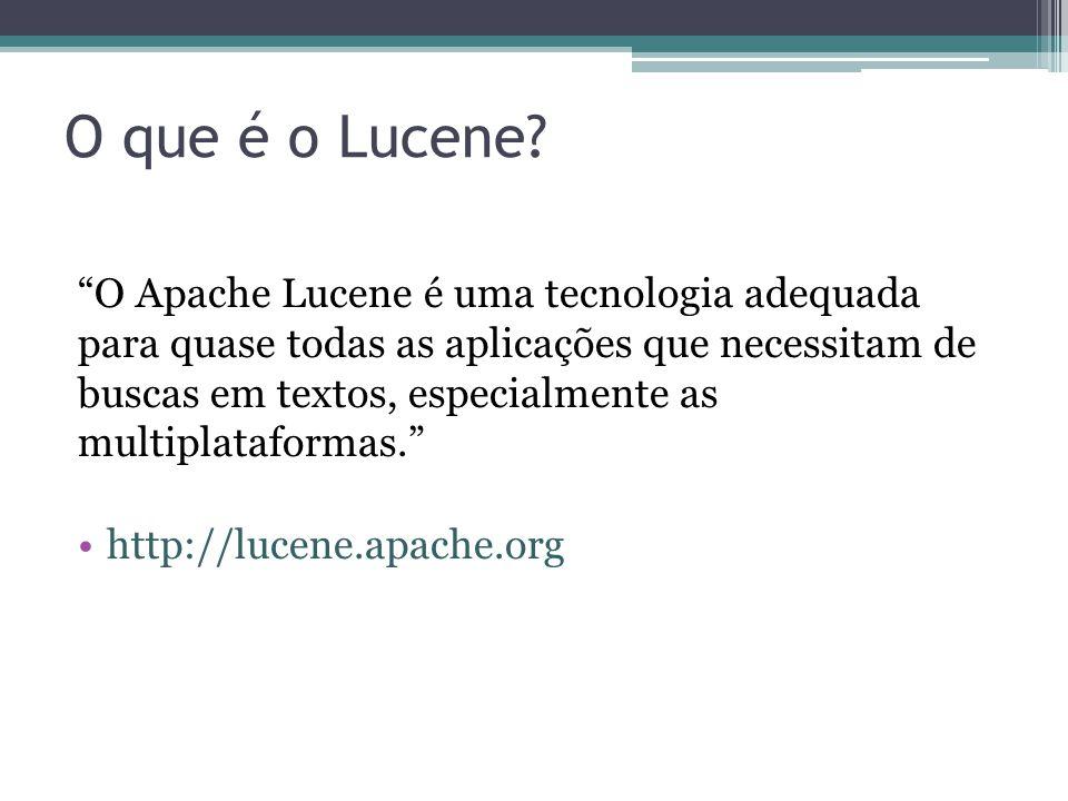 """O que é o Lucene? """"O Apache Lucene é uma tecnologia adequada para quase todas as aplicações que necessitam de buscas em textos, especialmente as multi"""
