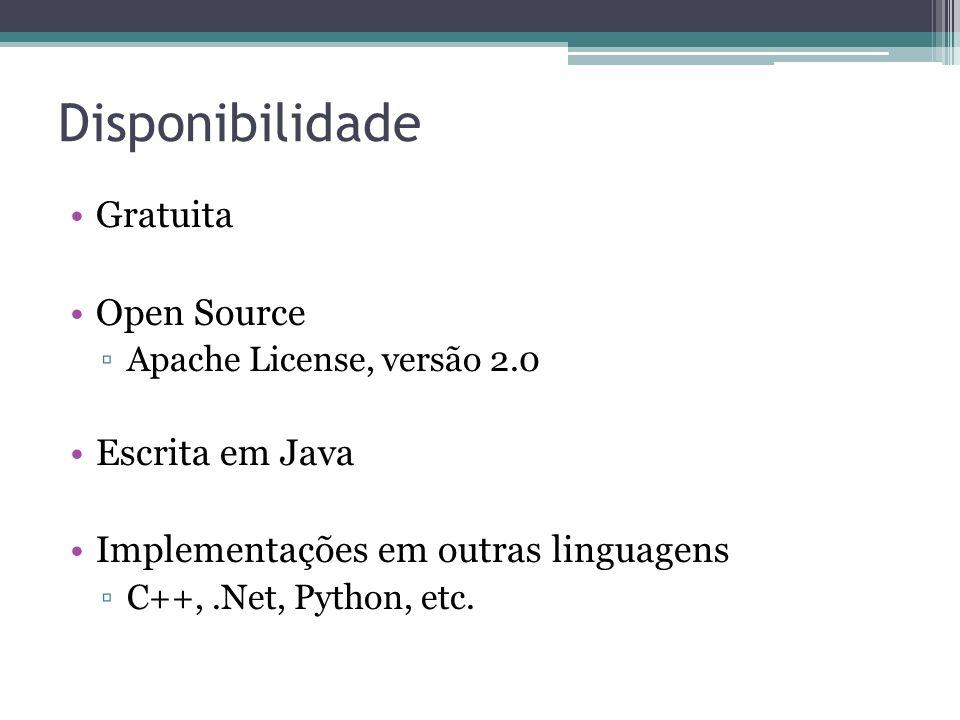 Disponibilidade •Gratuita •Open Source ▫Apache License, versão 2.0 •Escrita em Java •Implementações em outras linguagens ▫C++,.Net, Python, etc.