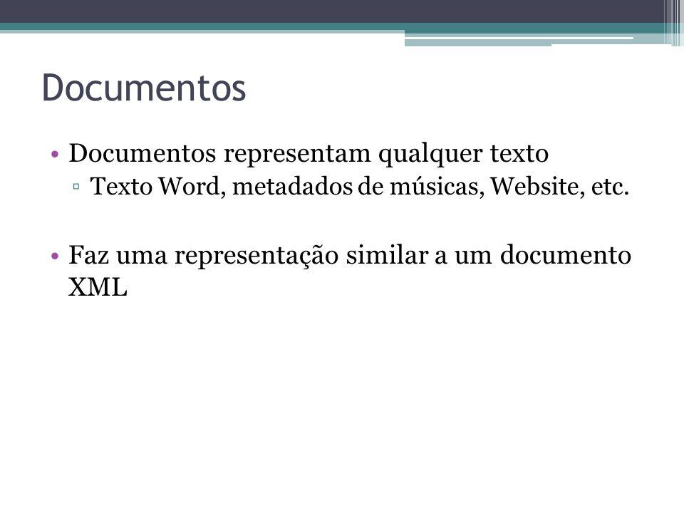 Documentos •Documentos representam qualquer texto ▫Texto Word, metadados de músicas, Website, etc. •Faz uma representação similar a um documento XML