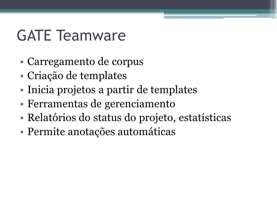 GATE Teamware •Carregamento de corpus •Criação de templates •Inicia projetos a partir de templates •Ferramentas de gerenciamento •Relatórios do status