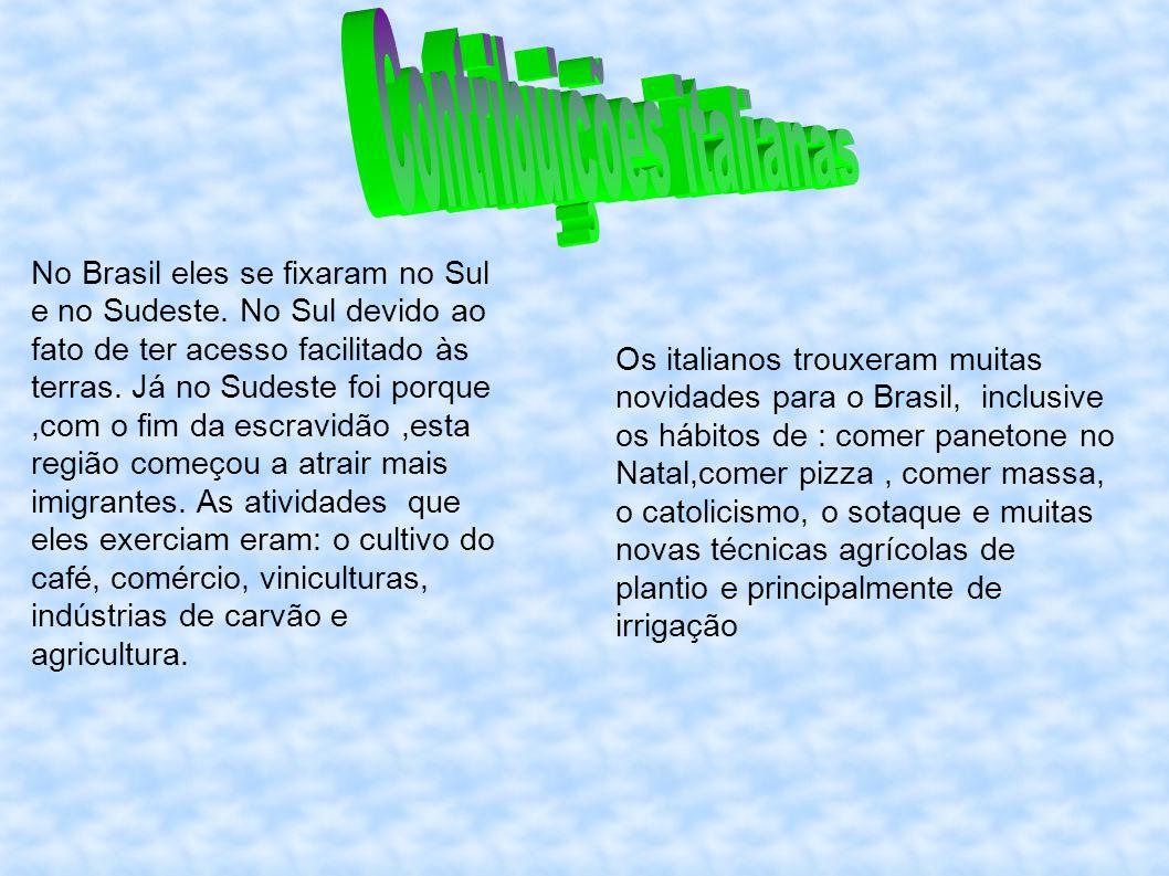 No Brasil eles se fixaram no Sul e no Sudeste. No Sul devido ao fato de ter acesso facilitado às terras. Já no Sudeste foi porque,com o fim da escravi