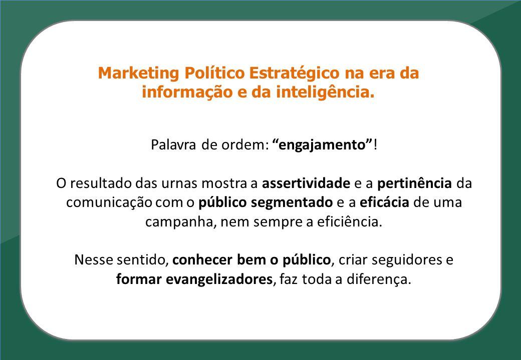 """Marketing Político Estratégico na era da informação e da inteligência. Palavra de ordem: """"engajamento""""! O resultado das urnas mostra a assertividade e"""