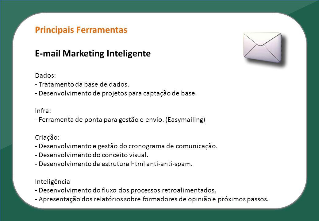 Principais Ferramentas E-mail Marketing Inteligente Dados: - Tratamento da base de dados. - Desenvolvimento de projetos para captação de base. Infra: