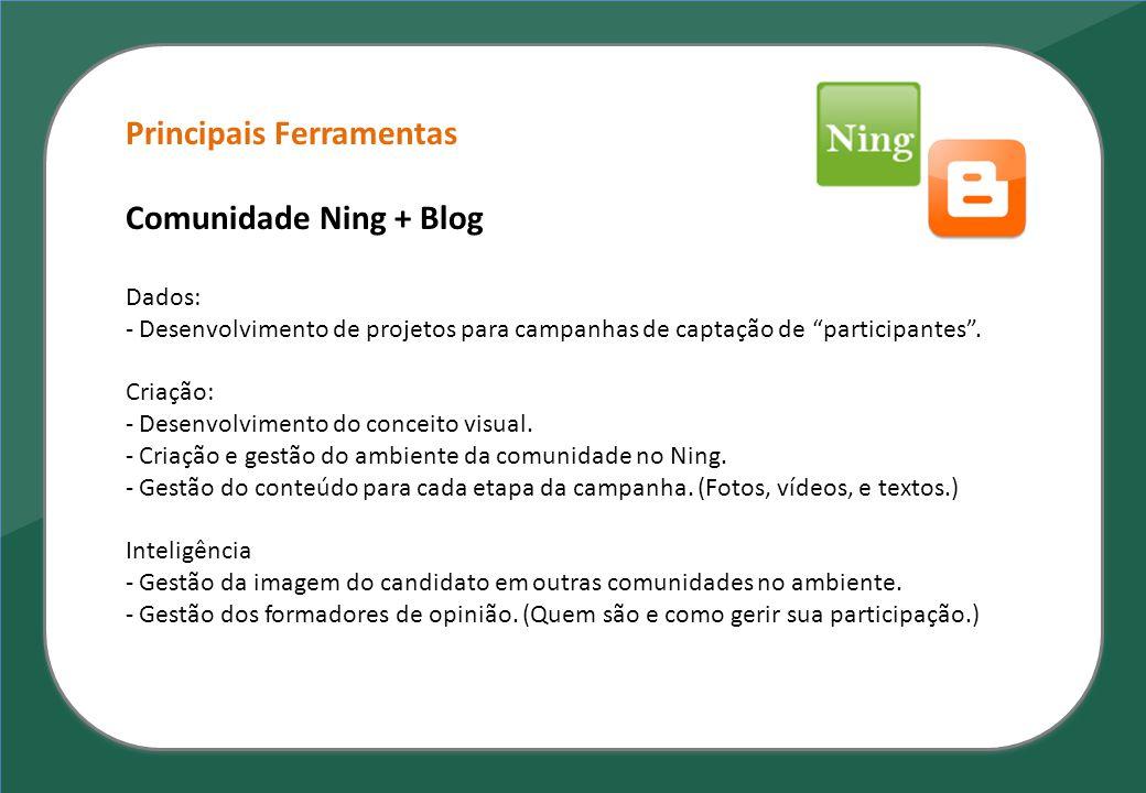 """Principais Ferramentas Comunidade Ning + Blog Dados: - Desenvolvimento de projetos para campanhas de captação de """"participantes"""". Criação: - Desenvolv"""