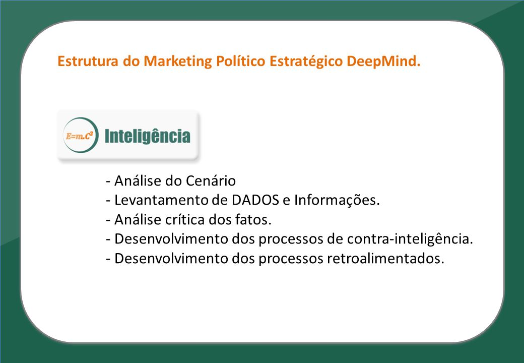 - Análise do Cenário - Levantamento de DADOS e Informações. - Análise crítica dos fatos. - Desenvolvimento dos processos de contra-inteligência. - Des