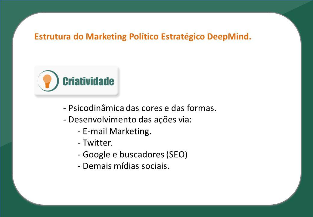 Estrutura do Marketing Político Estratégico DeepMind. - Psicodinâmica das cores e das formas. - Desenvolvimento das ações via: - E-mail Marketing. - T