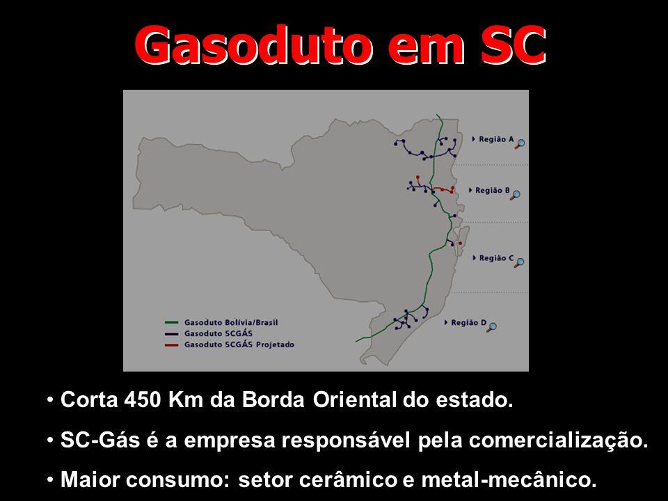 Gasoduto em SC • Corta 450 Km da Borda Oriental do estado. • SC-Gás é a empresa responsável pela comercialização. • Maior consumo: setor cerâmico e me