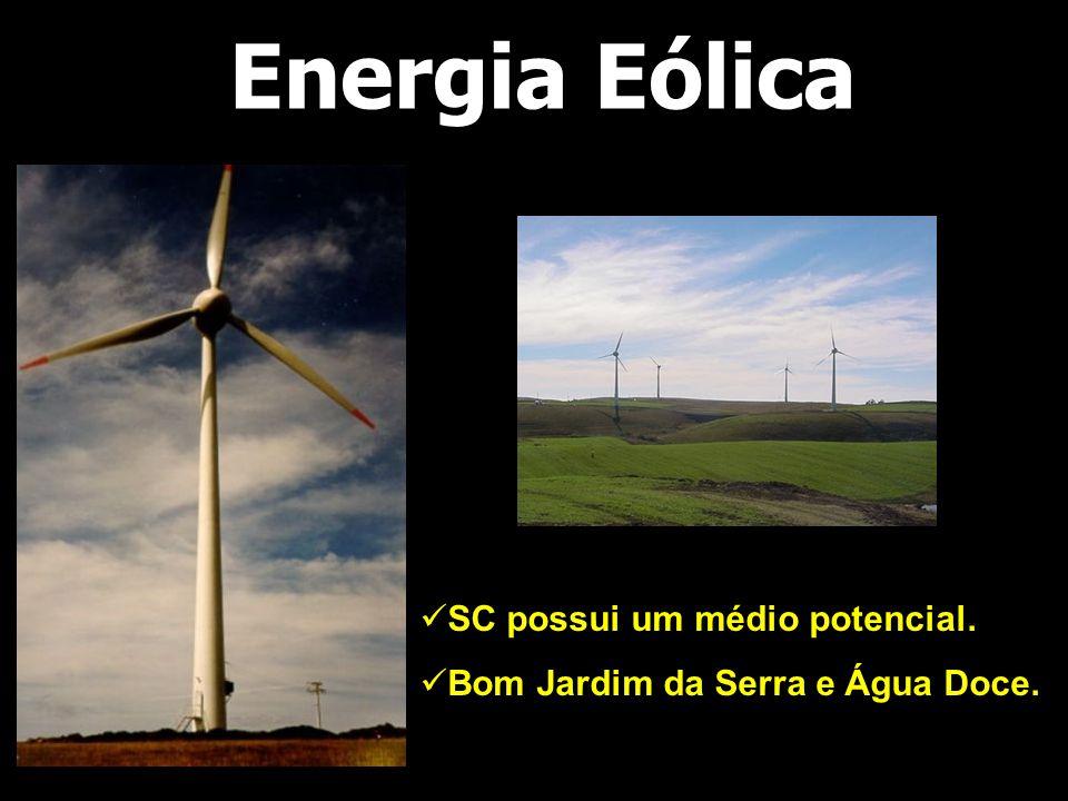 Energia Eólica  SC possui um médio potencial.  Bom Jardim da Serra e Água Doce.