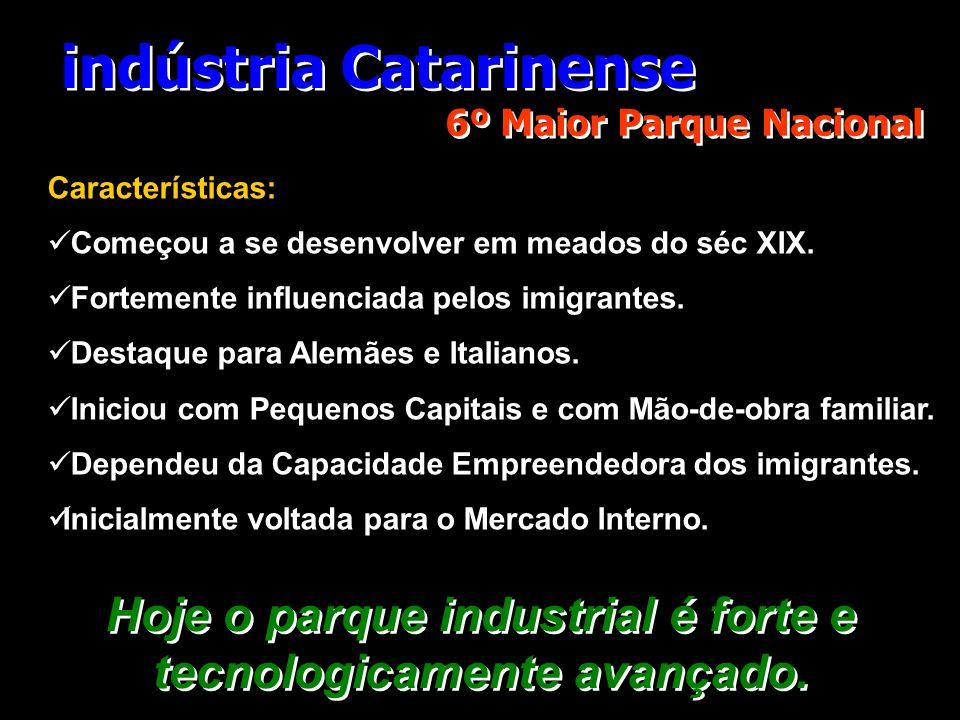 indústria Catarinense 6º Maior Parque Nacional Características:  Começou a se desenvolver em meados do séc XIX.  Fortemente influenciada pelos imigr