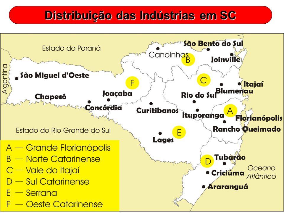 Distribuição das Indústrias em SC